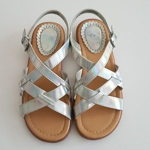 [Girl 1] Childrens Place Silver Sandals EUC
